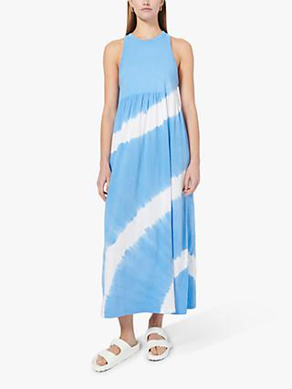 Ninety Percent Organic Cotton Circle Tie Dye Maxi Dress, Cornflower/Optic White
