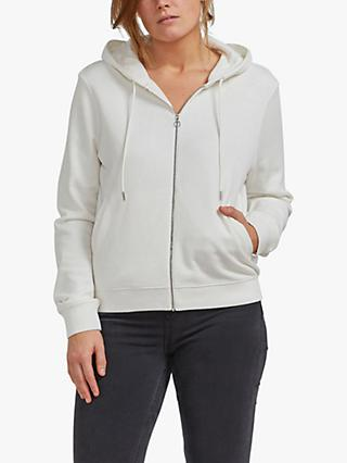 Ninety Percent Organic Cotton Classic Fit Zip Front Hoodie, Off White