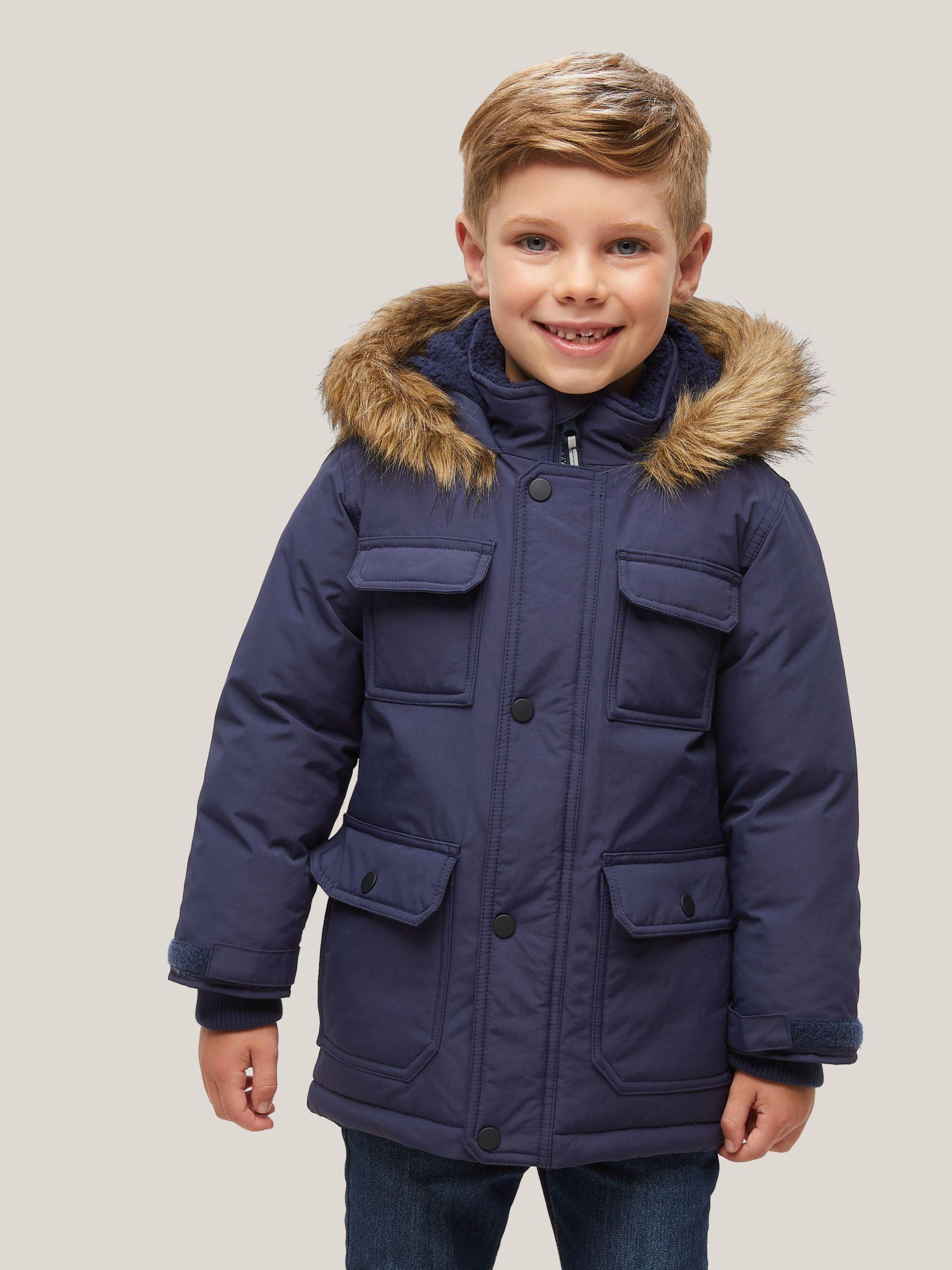 Partners Kids Core Parka Coat Navy, Black Coat With Fur Hood Children S