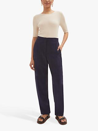 Jigsaw Fluid Twill Trousers, Dark Blueberry