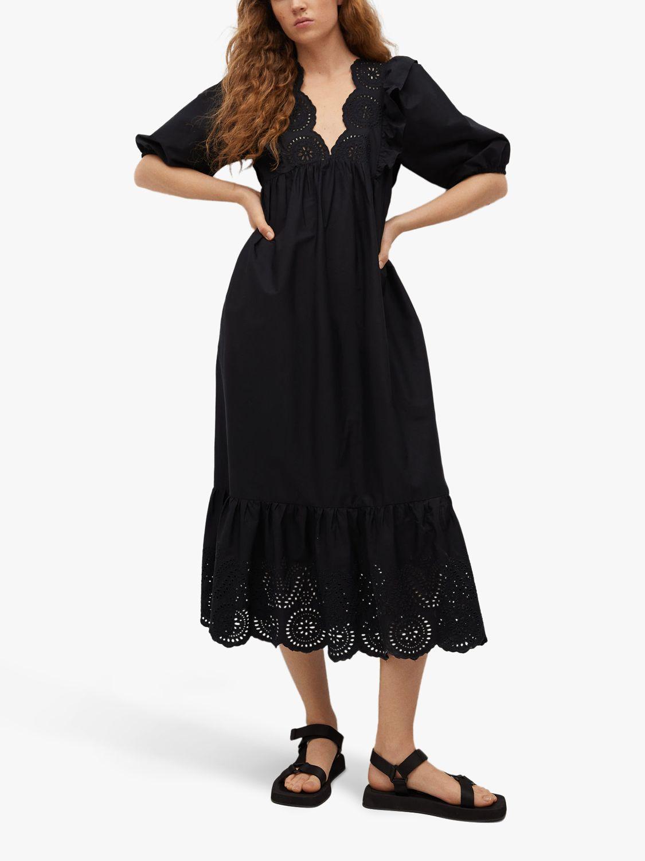 Mango Openwork Cotton Poplin Midi Dress, Black
