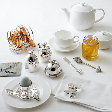 Buy Queensberry Hunt for John Lewis White Bone China Tea Cups and Saucers, Set of 4 Online at johnlewis.com