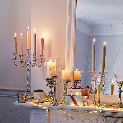 Buy Glass Pillar Candle Holder, Large Online at johnlewis.com