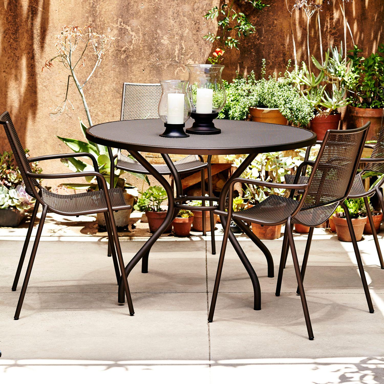 John Lewis Ala Mesh 4 Seater Outdoor Dining Set, Bronze