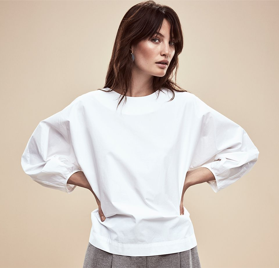 Woman in Kin by John Lewis Exaggerated Sleeve Poplin Top, White