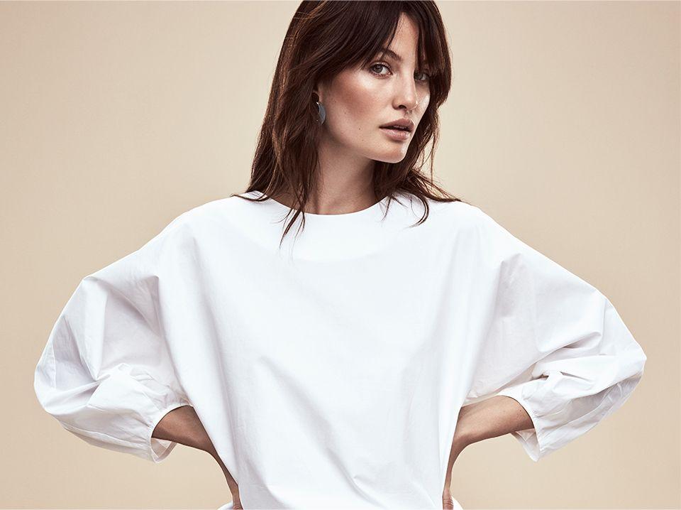 Women in Kin by John Lewis Exaggerated Sleeve Poplin Top White