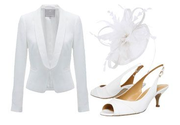 White jacket, white fascinator and white shoes