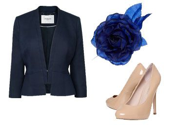 Blue jacket, blue rose fascinator and tan shoes