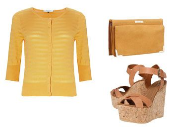 Yellow jacket, yellow handbag and tan leather wedge sandals