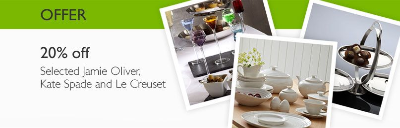 offers - 20% off Selected Jamie Oliver, Kate Spade and Le Creuset