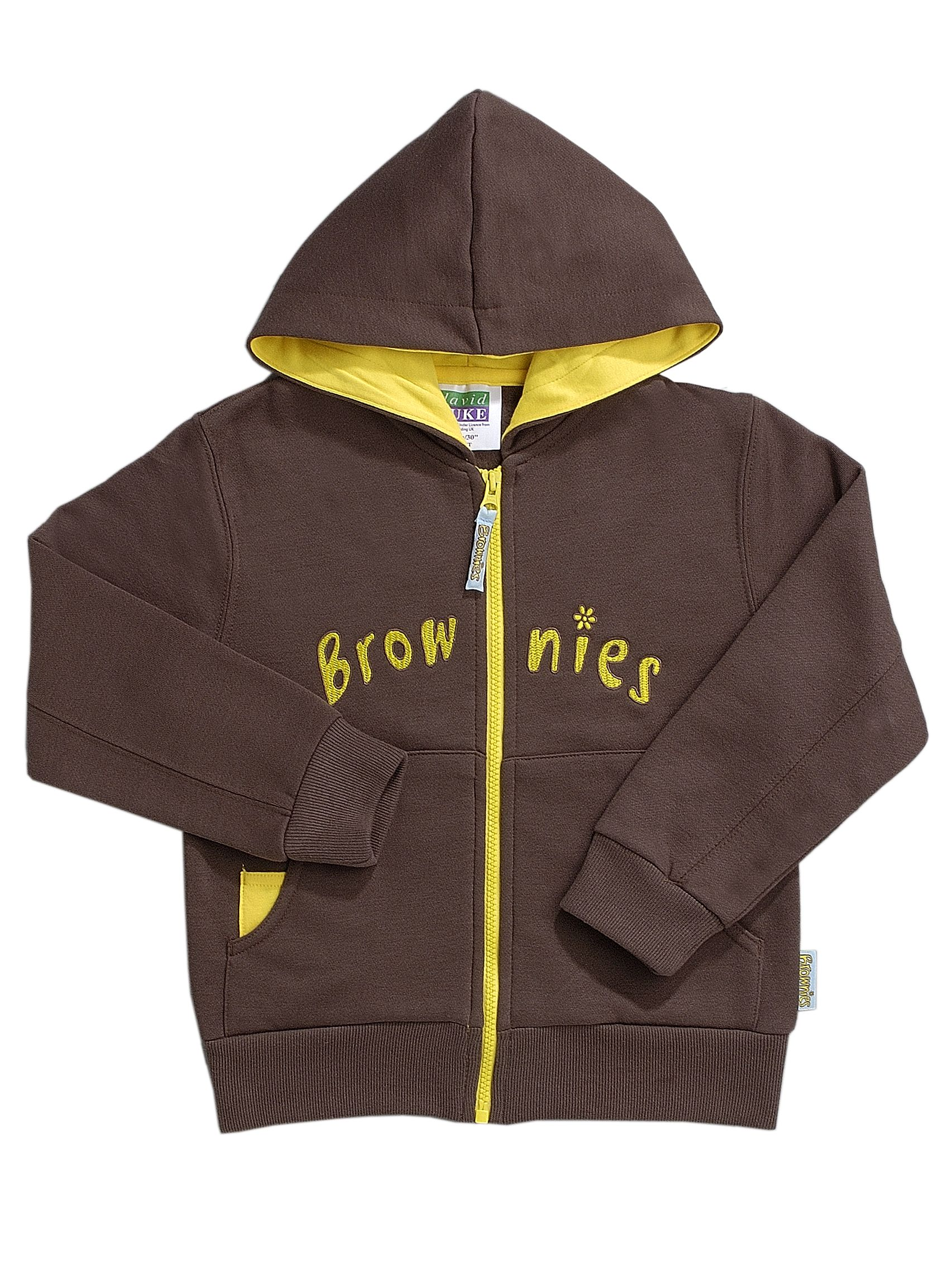 Brownies Brownies Uniform Hooded Zipped Top, Brown