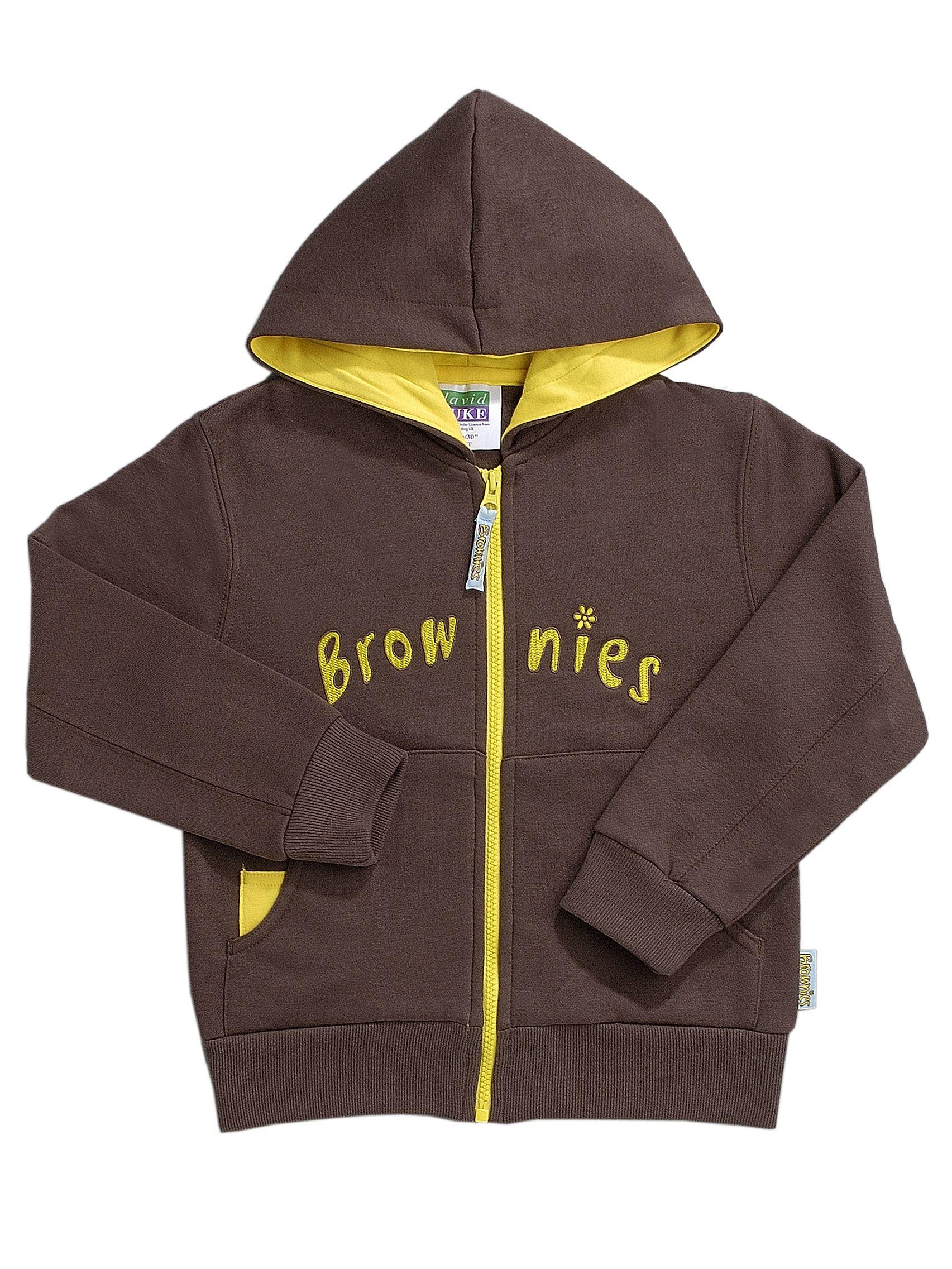 Buy Brownies Uniform Hooded Zipped Top, Brown Online at johnlewis.com