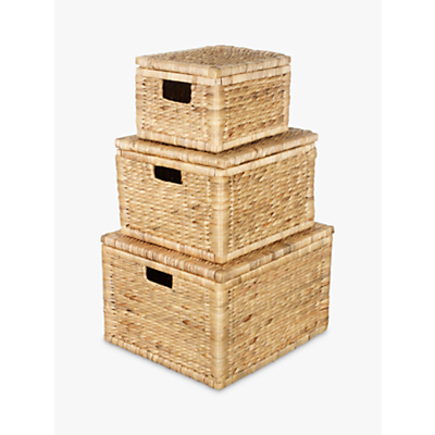 John Lewis Water Hyacinth Storage Baskets, Set of 3