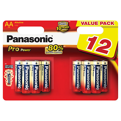Buy Panasonic Pro Power Alkaline AA Batteries, Pack of 12 Online at johnlewis.com