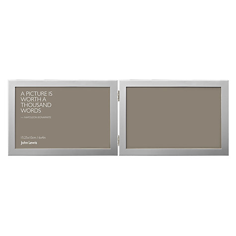 "Buy Shiny Silver Multi-aperture Frame, 2 Photo, 4 x 6"" (10 x 15cm) Online at johnlewis.com"