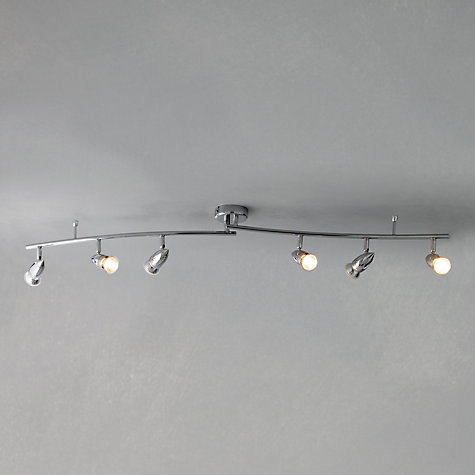 Buy john lewis soyuz 6 spotlight ceiling bar polished for Kitchen lighting ideas john lewis
