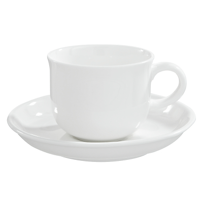 Queensberry Hunt for John Lewis White Bone China Coffee Cups and Saucers, Set of 4