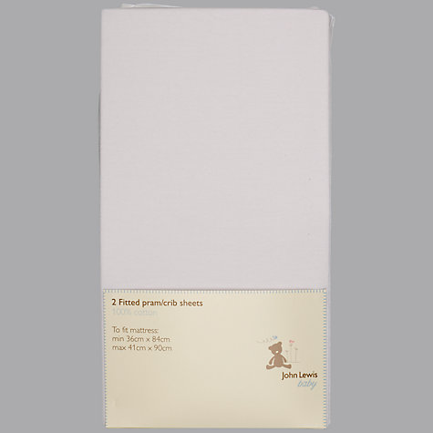 Buy John Lewis Baby Fitted Pram / Crib Sheets, 36-41 x 84-90cm, Pack of 2, White Online at johnlewis.com