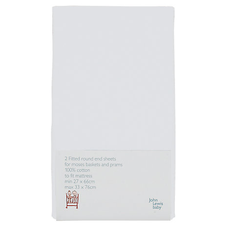 Buy John Lewis Baby Fitted Moses Basket / Pram Sheets, 27-33 x 66-76cm, Pack of 2 Online at johnlewis.com