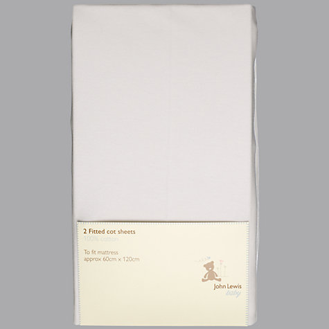 Buy John Lewis Baby Fitted Cot Sheets, 120 x 60cm, Pack of 2 Online at johnlewis.com