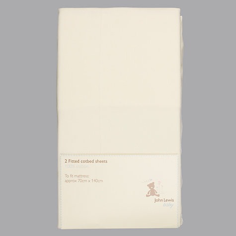 Buy John Lewis Baby Fitted Cotbed Sheets, 70 x 140cm, Pack of 2 Online at johnlewis.com