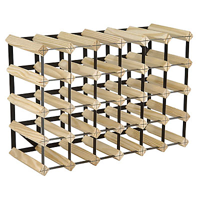 RTA Winestak 30 Bottle Wine Rack, Pine and Black Steel