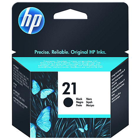 Buy HP 21 Inkjet Cartridge Black, C9351AE Online at johnlewis.com