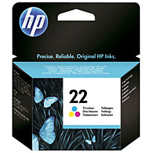 Buy HP 22 Inkjet Cartridge, Tri-Colour, C9352AE Online at johnlewis.com