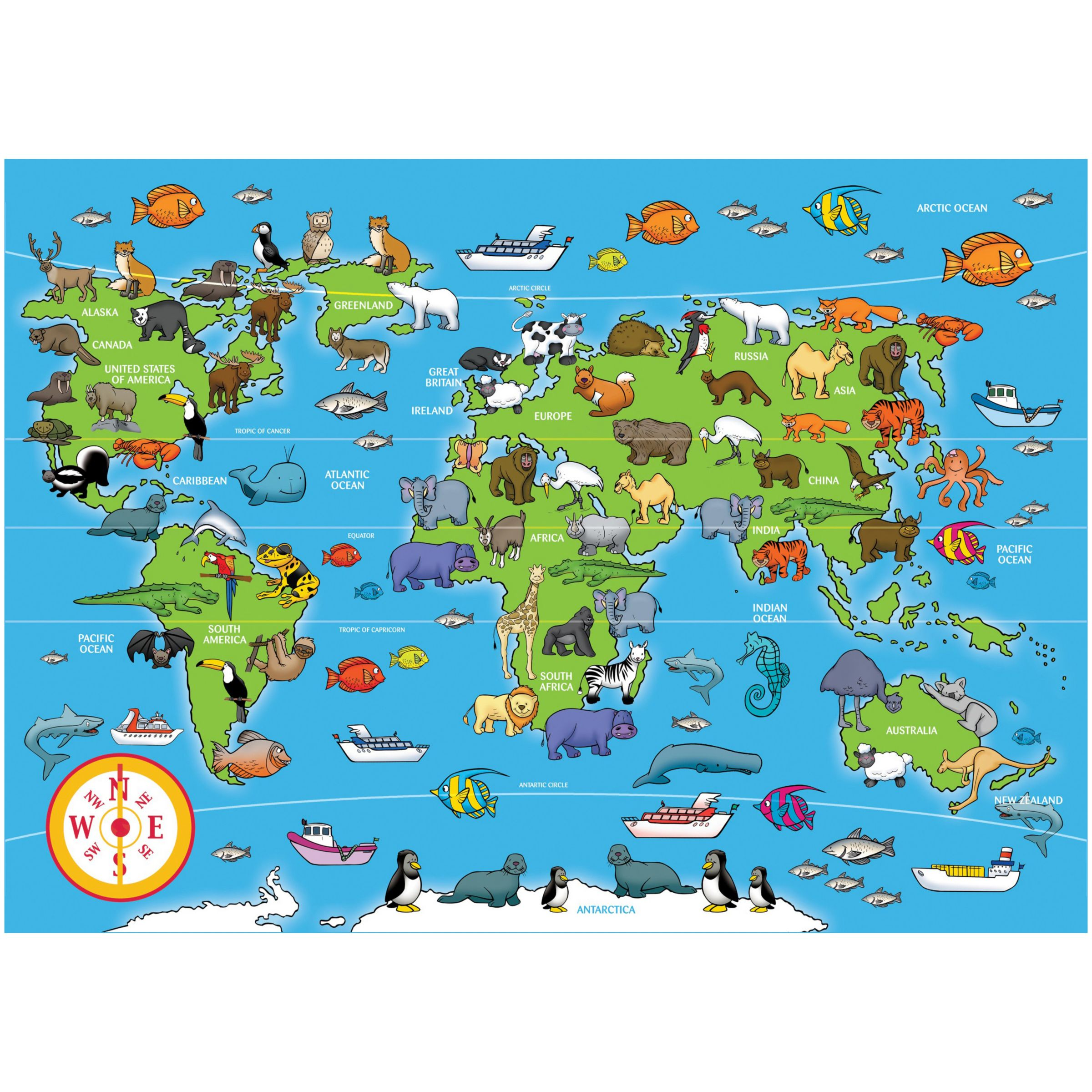Animals Of The World Jigsaw Puzzle, 60 Pieces