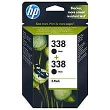 Buy HP 338 Black Inkjet Cartridge, Pack of 2, CB331EE Online at johnlewis.com