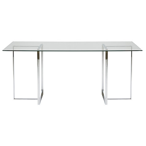 Buy John Lewis Staten 140 Clear Glass Top Desk with Steel Trestles Online at johnlewis.com