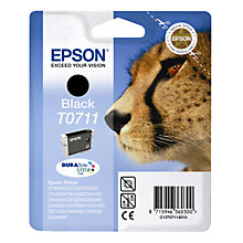 Buy Epson T0711 Cheetah Inkjet Printer Cartridge, Black Online at johnlewis.com