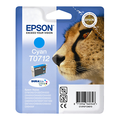 Inkjet Printer Cartridge, Cyan, T0712