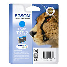 Buy Epson T0712 Cheetah Inkjet Printer Cartridge, Cyan Online at johnlewis.com