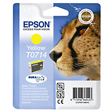 Buy Epson T0714 Cheetah Inkjet Printer Cartridge, Yellow Online at johnlewis.com