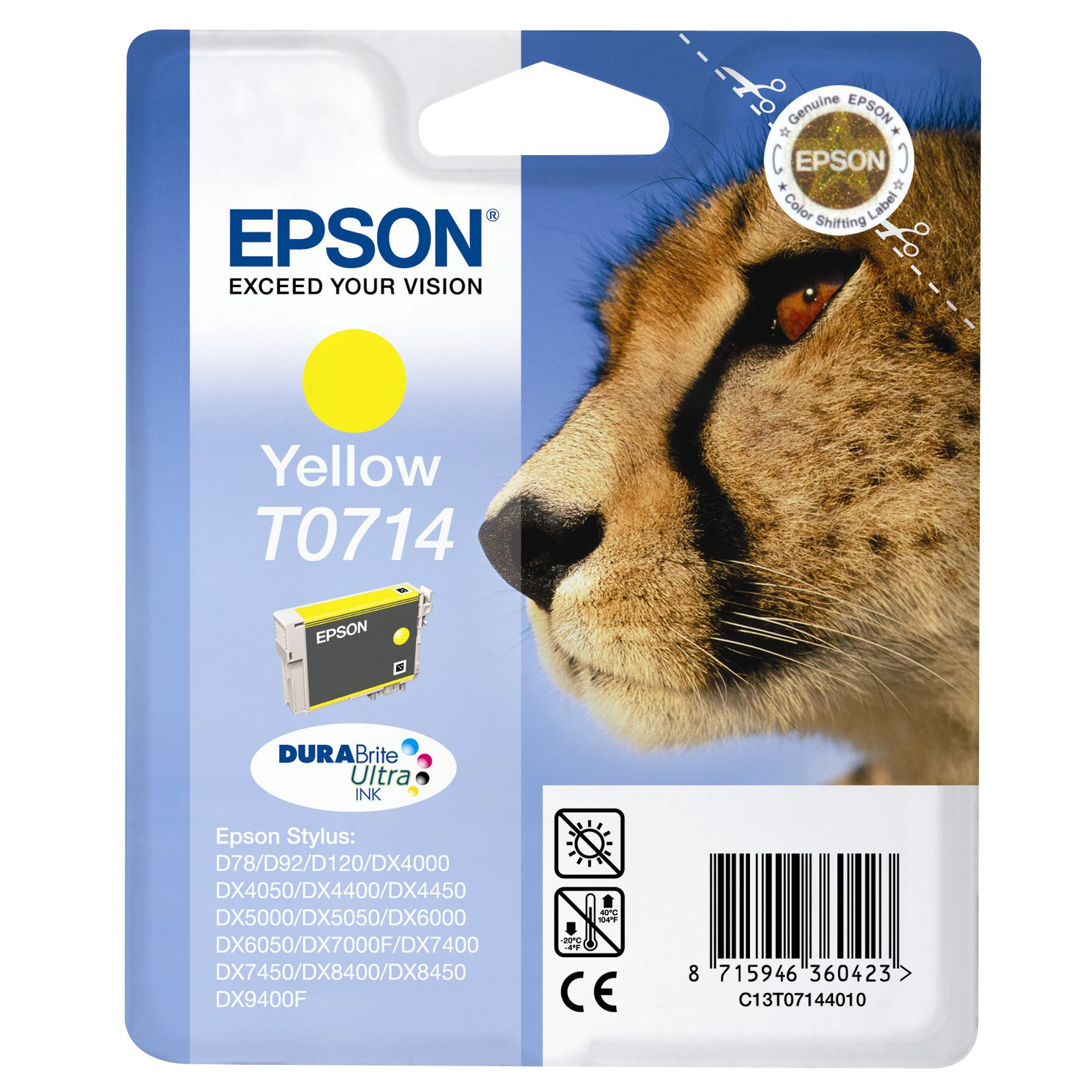 Inkjet Printer Cartridge, Yellow, T0714