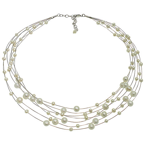 Buy Lido Multi-Strand Freshwater Pearl Necklace, Cream Online at johnlewis.com