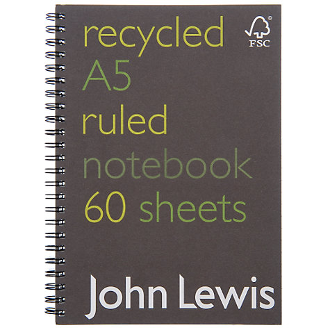 Buy John Lewis A5 Recycled Notebook Online at johnlewis.com