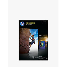 Buy HP Advanced Photo Paper, White, A4, 25 Sheets Online at johnlewis.com