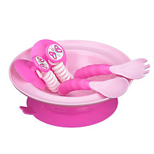 Buy Stay-Put Bowl and Cutlery Set, Pink Online at johnlewis.com
