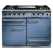 Buy Falcon 1092 Deluxe Cooktop Dual Fuel Range Cooker, China Blue/ Nickel Trim/Matt Pan Supports Online at johnlewis.com