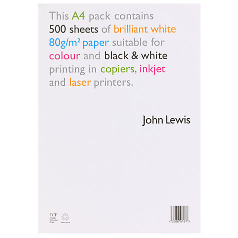 Buy John Lewis Paper, A4, 500 Sheets Online at johnlewis.com