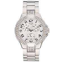 Buy Guess 14503L1 Prism Chronograph Women's Watch, Silver Online at johnlewis.com