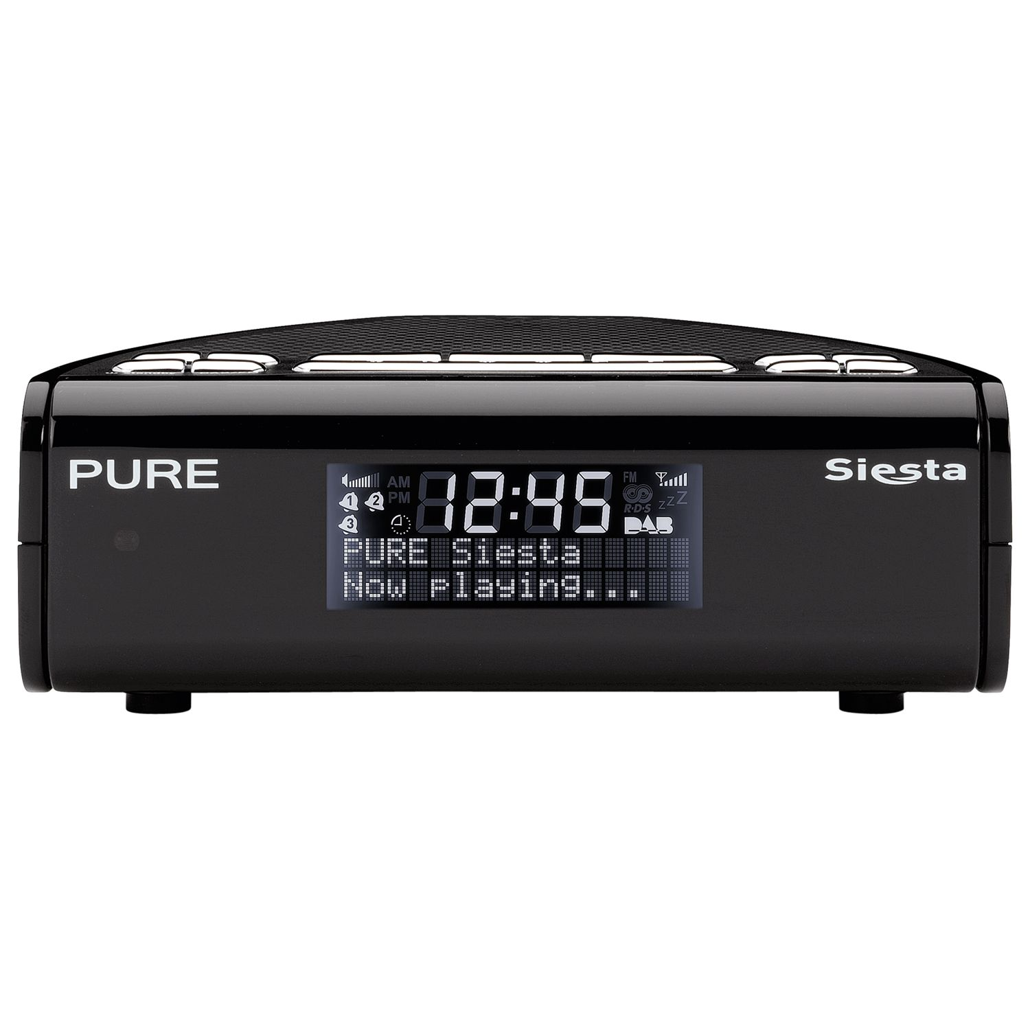 pure siesta dab digital clock radio black. Black Bedroom Furniture Sets. Home Design Ideas