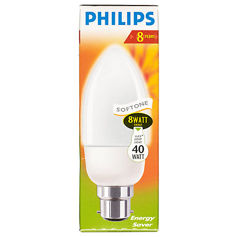 Buy Philips 8W CFL Candle Bulb, Opal Online at johnlewis.com