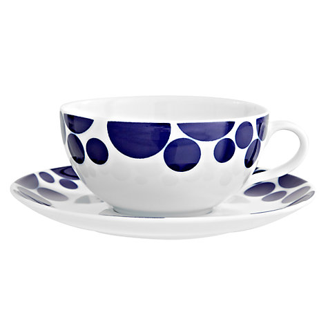 Buy John Lewis Spots Cups & Saucers, Set of 4, Blue/White Online at johnlewis.com