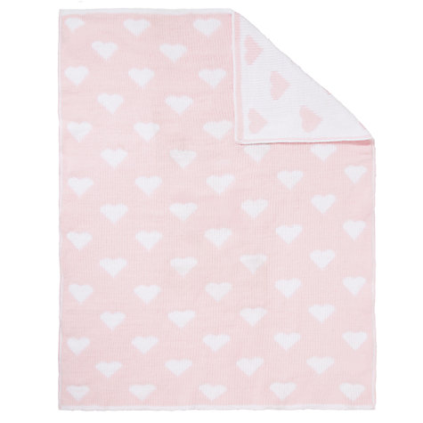Buy John Lewis Knitted Heart Pram Blanket, Pink Online at johnlewis.com
