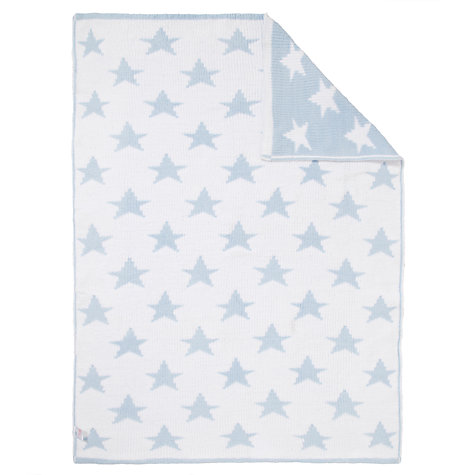 Buy John Lewis Knitted Star Pram Blanket, Blue Online at johnlewis.com