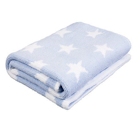 Buy John Lewis Knitted Star Pram Baby Blanket, Blue Online at johnlewis.com