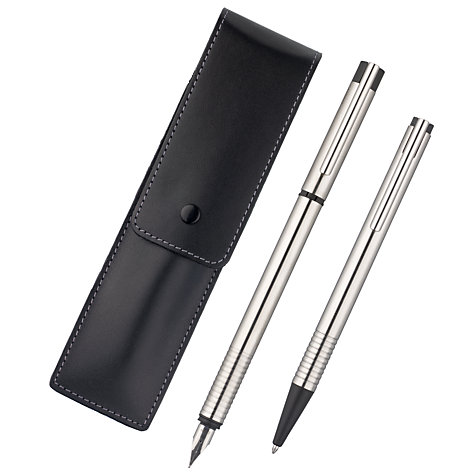 Buy Lamy Logo Fountain and Ballpoint Pen Set, Stainless Steel Online at johnlewis.com